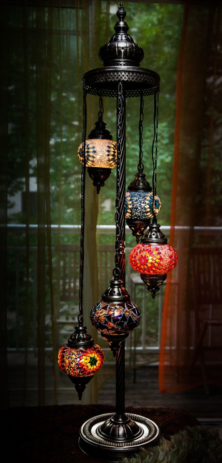 Outdoor Turkish Lanterns Pertaining To Trendy Turkish / Moroccan Style Mosaic Glass Lamp (View 14 of 20)