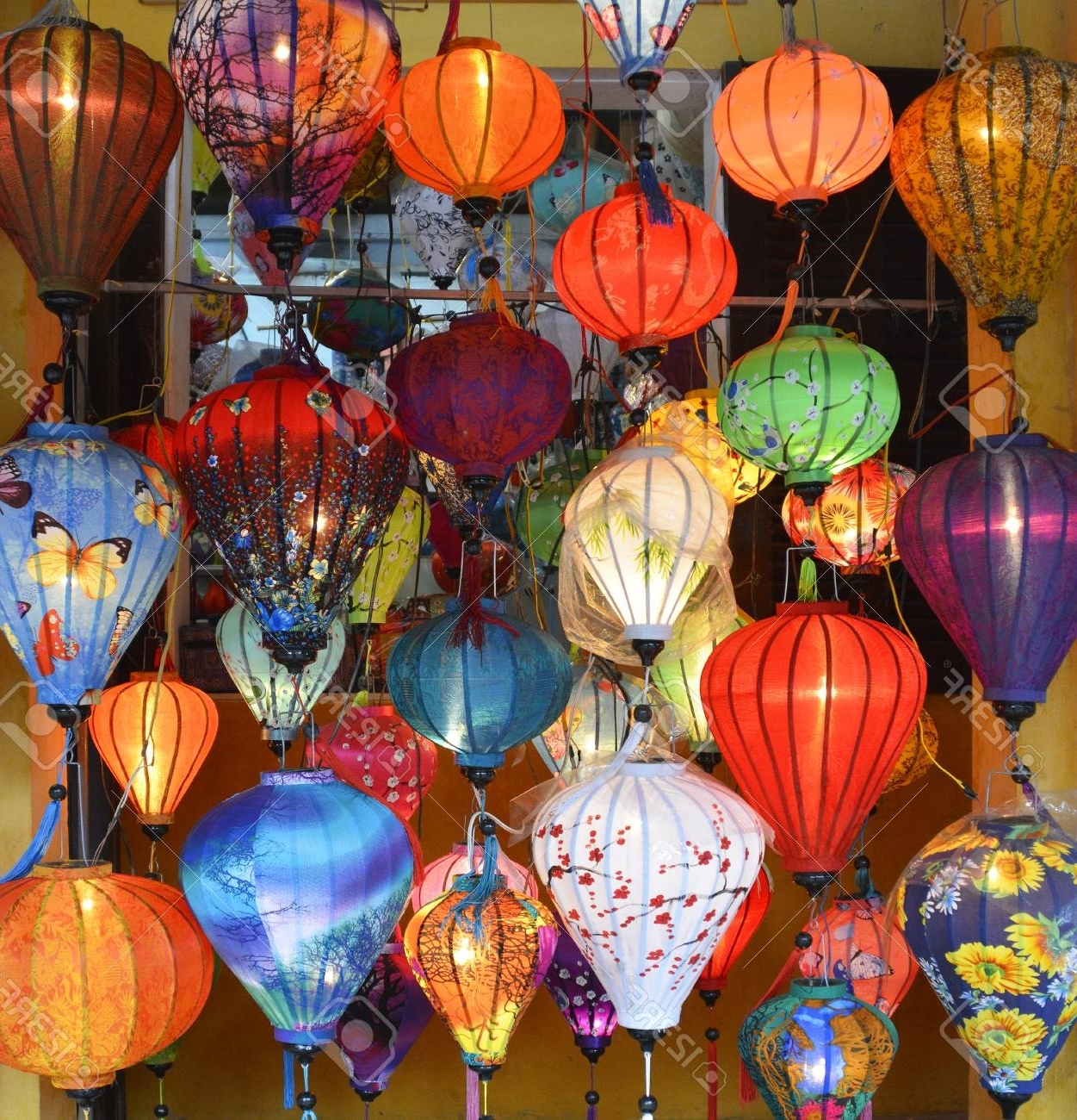 Outdoor Vietnamese Lanterns With Regard To Widely Used Colourful Fabric Lanterns Hang Outside A Shop In A Street In. (View 13 of 20)