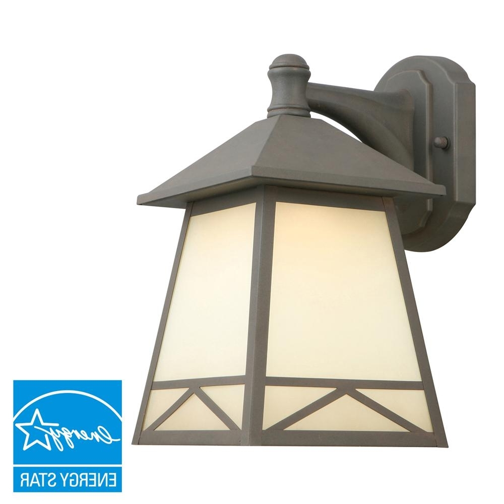 Outdoor Vinyl Lanterns Pertaining To Newest Hampton Bay Bronze Outdoor Led Wall Lantern With Frosted Tea Stain (View 16 of 20)