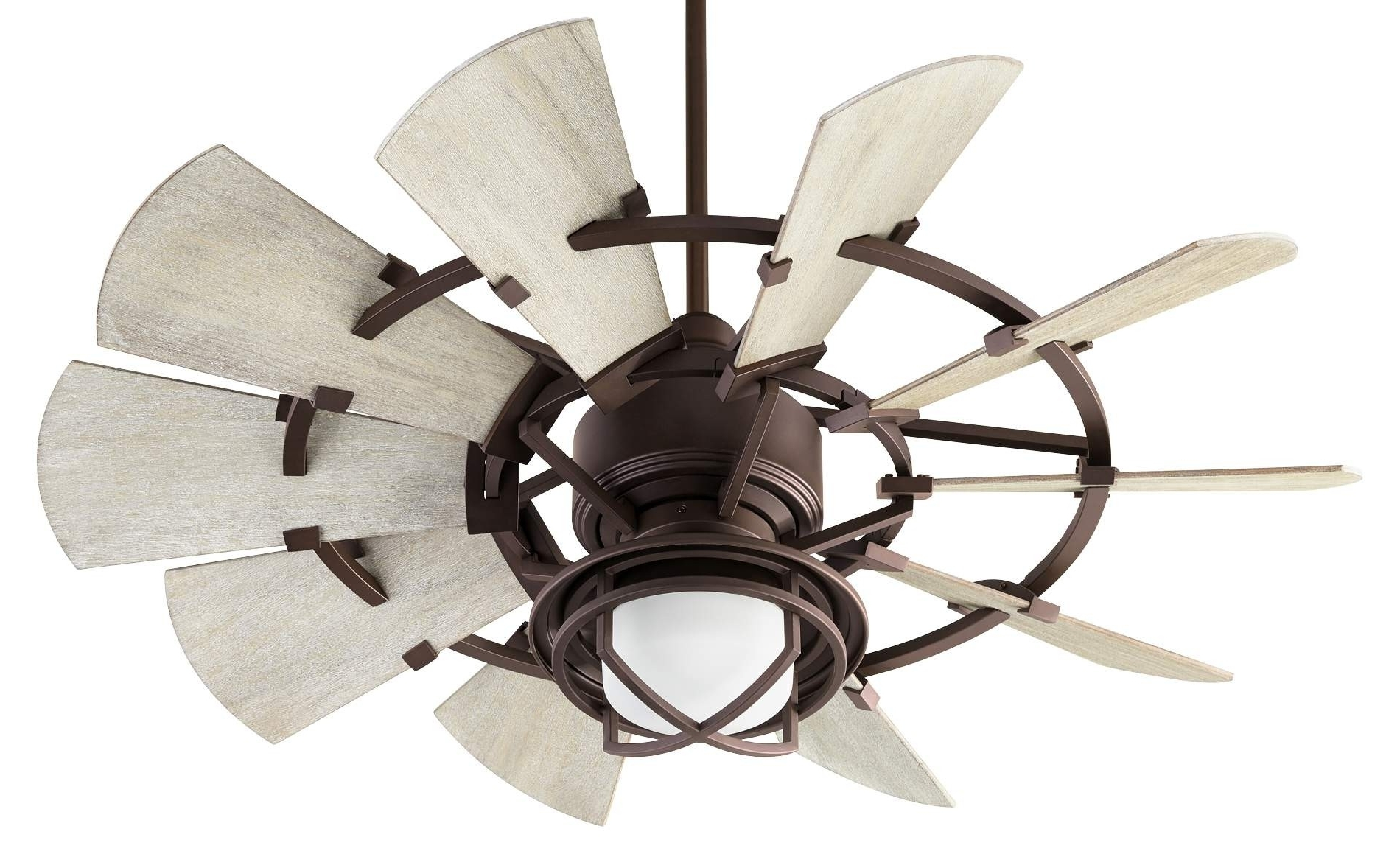 Outdoor Windmill Ceiling Fans With Light For Favorite Quorum Windmill Ceiling Fan Model 194410 86 In Oiled Bronze (View 11 of 20)
