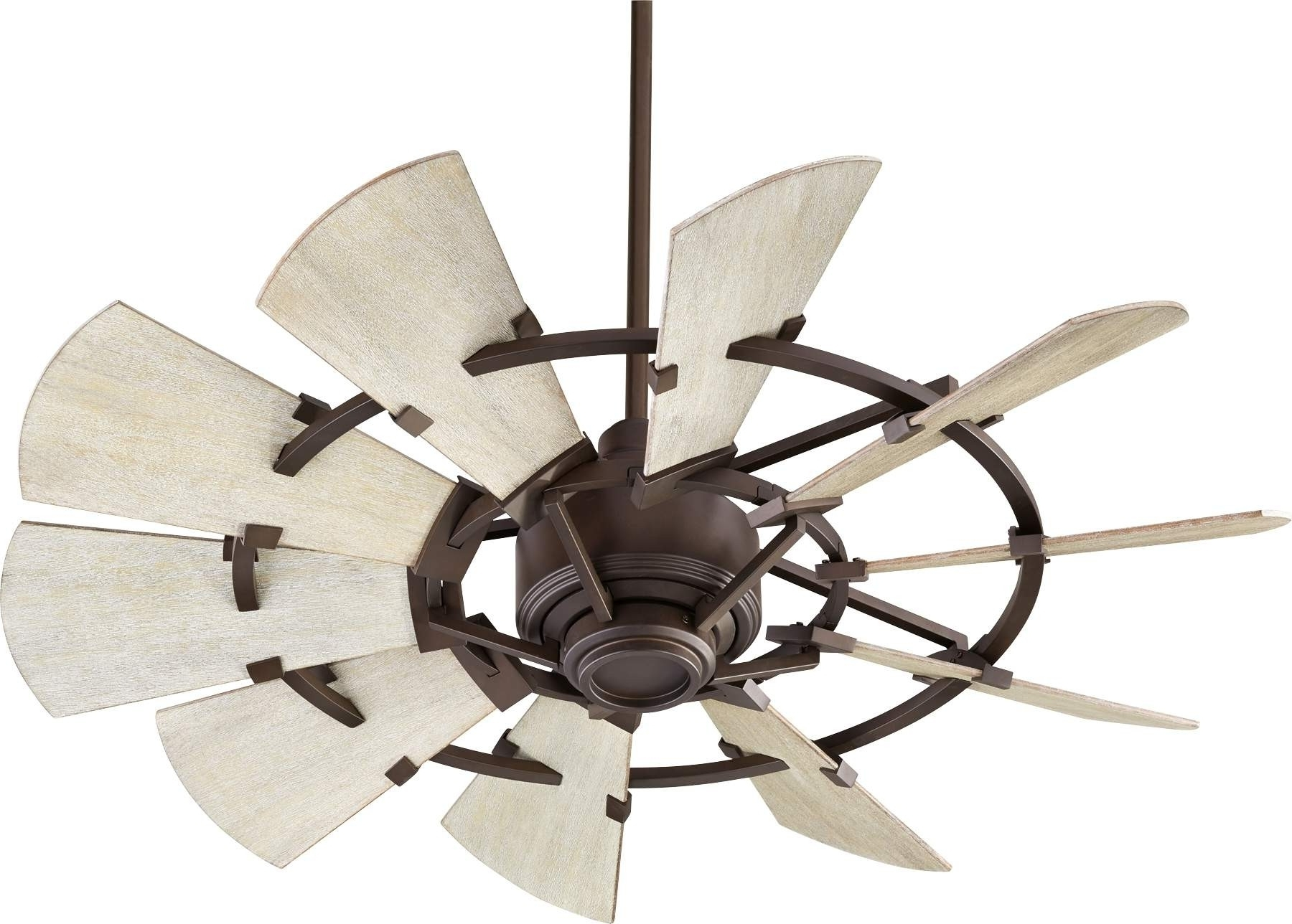Outdoor Windmill Ceiling Fans With Light Within Trendy Quorum Windmill Ceiling Fan Model 194410 86 In Oiled Bronze (View 18 of 20)