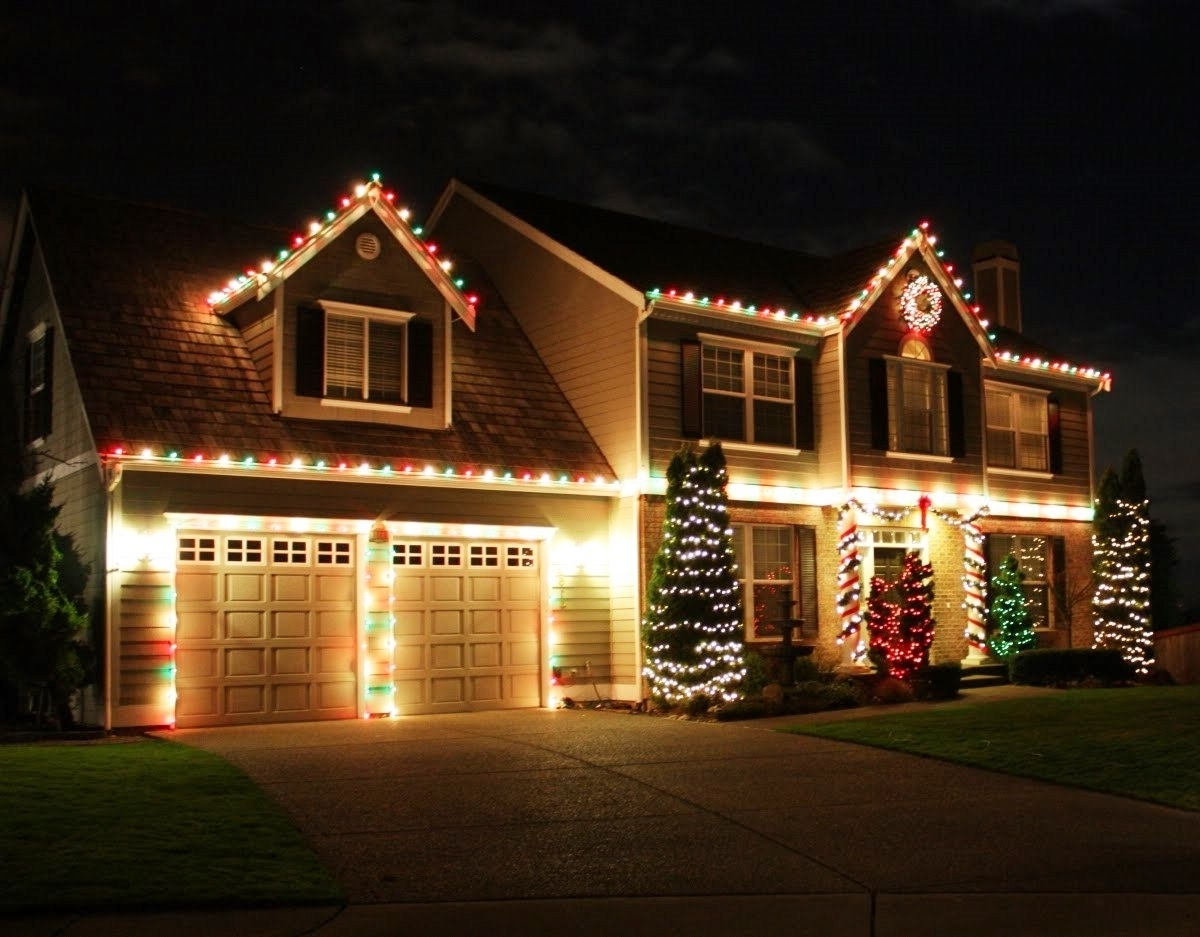 Outdoor Xmas Lanterns Pertaining To Most Current Christmas Lights On House Revandy Small Home – Dfyitscv (View 16 of 20)