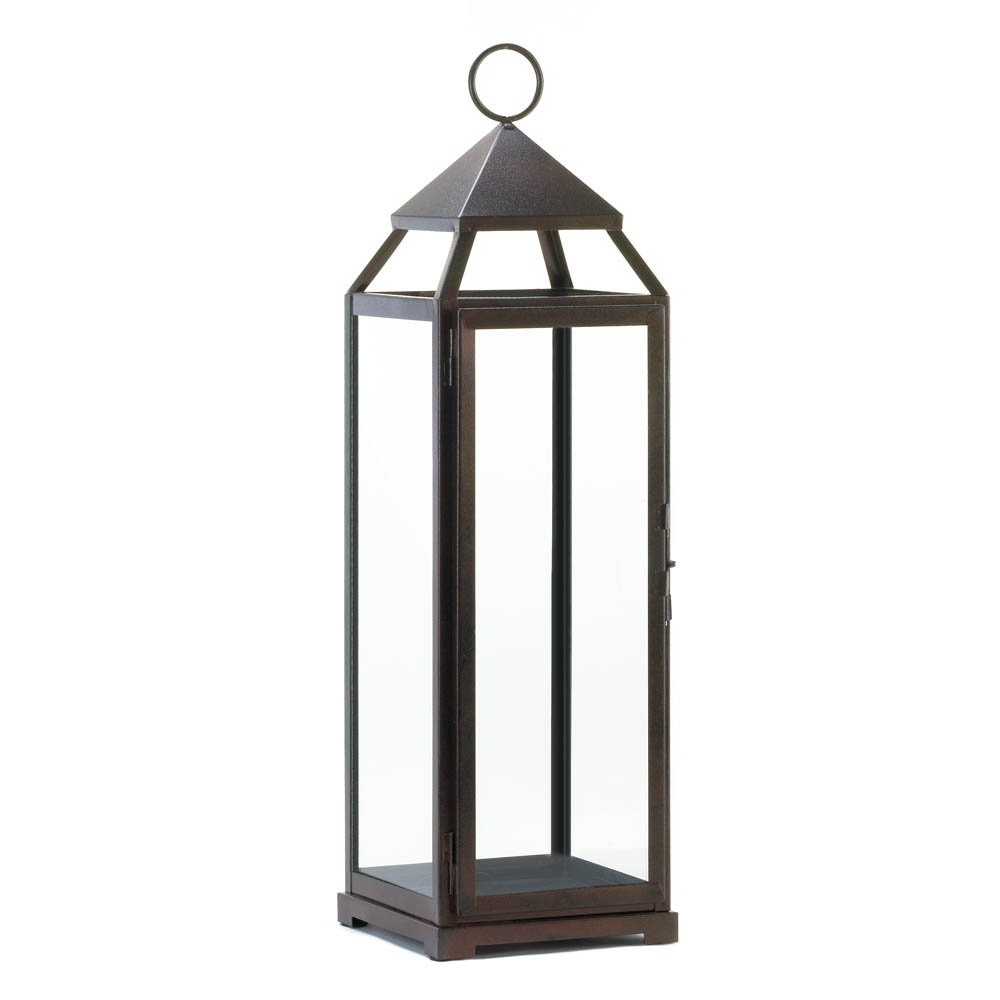 Patio Candle Lanterns, Large Iron Metal Candle Holder Lantern Rustic Pertaining To Favorite Outdoor Bronze Lanterns (View 7 of 20)