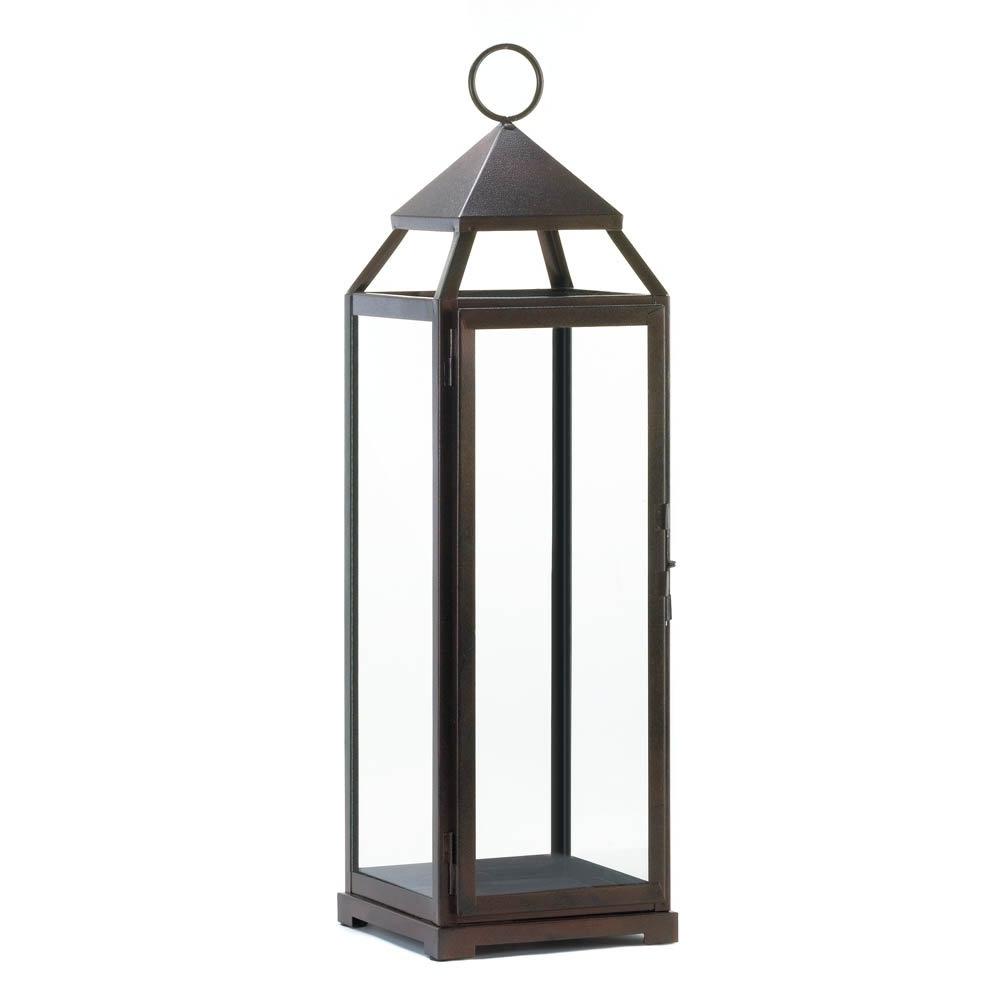 Patio Candle Lanterns, Large Iron Metal Candle Holder Lantern Rustic Pertaining To Favorite Outdoor Bronze Lanterns (View 14 of 20)