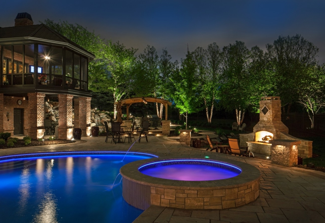 Patio Ideas Outdoor Lamp For With Blue And Purple Swimming Electric With Most Recent Outdoor Lanterns For Poolside (View 17 of 20)