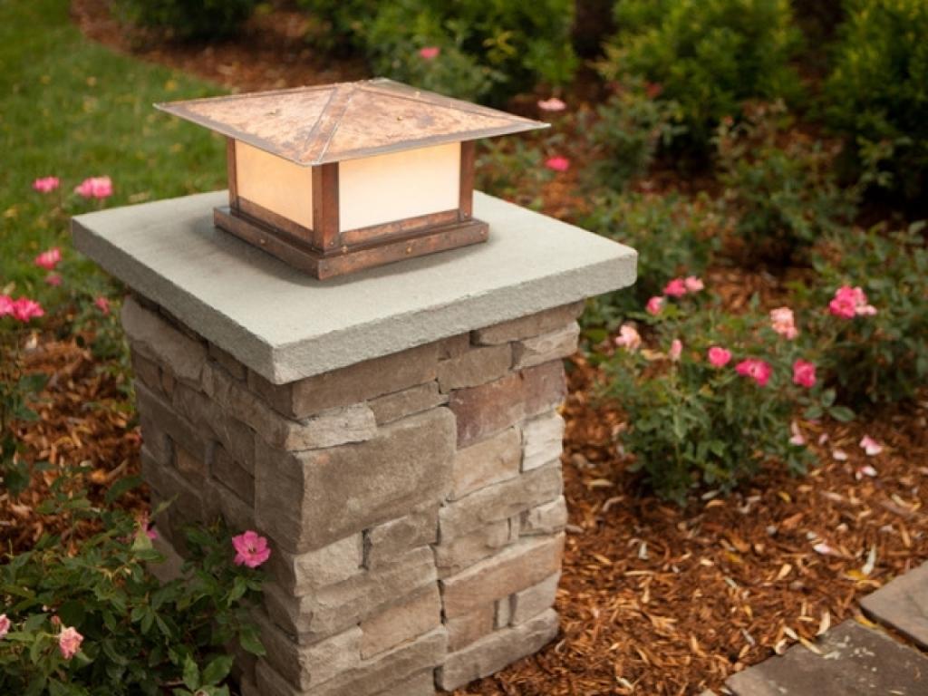 Patio Kitchen Ideas Stone Pillar Lighting Driveway Pillars Outdoor In Well Known Outdoor Lanterns For Pillars (View 11 of 20)