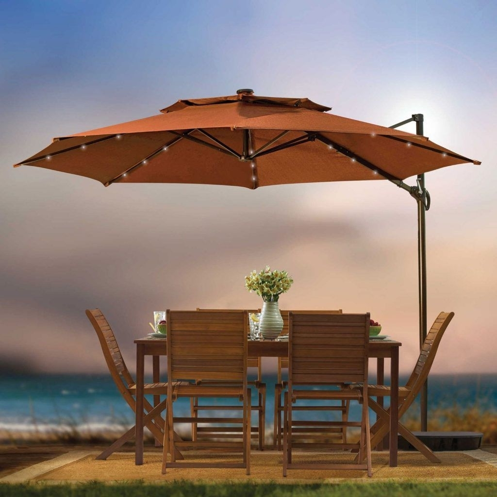 Patio Umbrella Lights Large Patio Umbrella With Lights Intended For 2019 Outdoor Umbrella Lanterns (Gallery 15 of 20)
