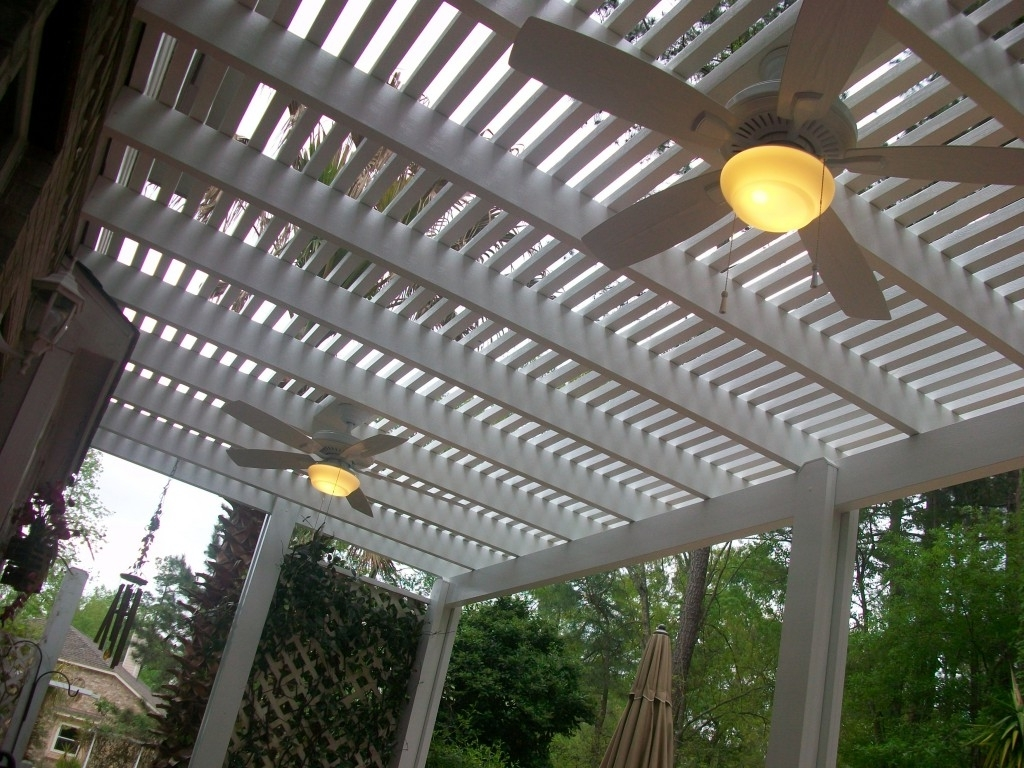 Pergola Ceiling Fans With Lighting Options – Lone Star Patio With Regard To Trendy Outdoor Ceiling Fans For Pergola (View 5 of 20)
