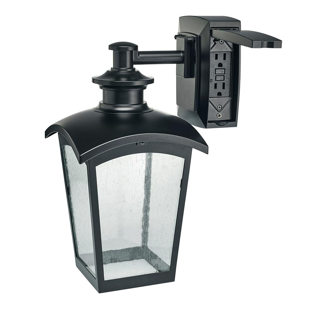Plug In Outdoor Lanterns Throughout Widely Used Hampton Bay Die Cast Exterior Lantern With Gfci Black Md 31343 – The (View 7 of 20)