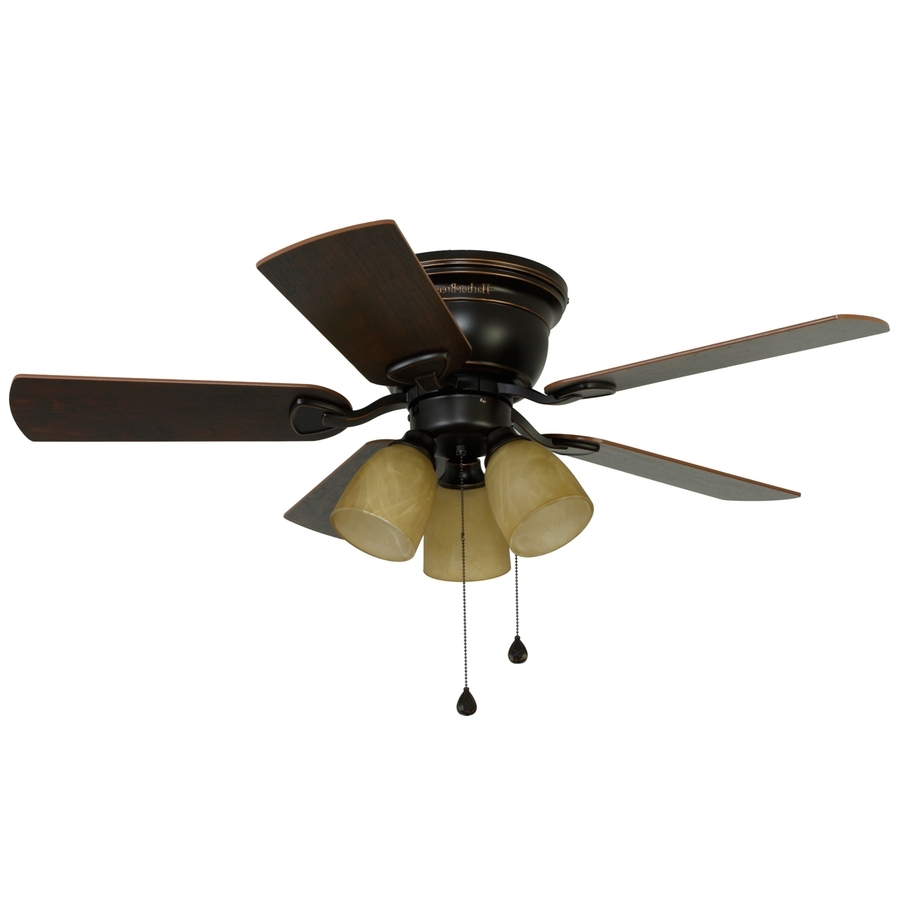 Popular 42 Outdoor Ceiling Fans With Light Kit Inside Shop Harbor Breeze Centreville 42 In Oil Rubbed Bronze Indoor Flush (View 14 of 20)