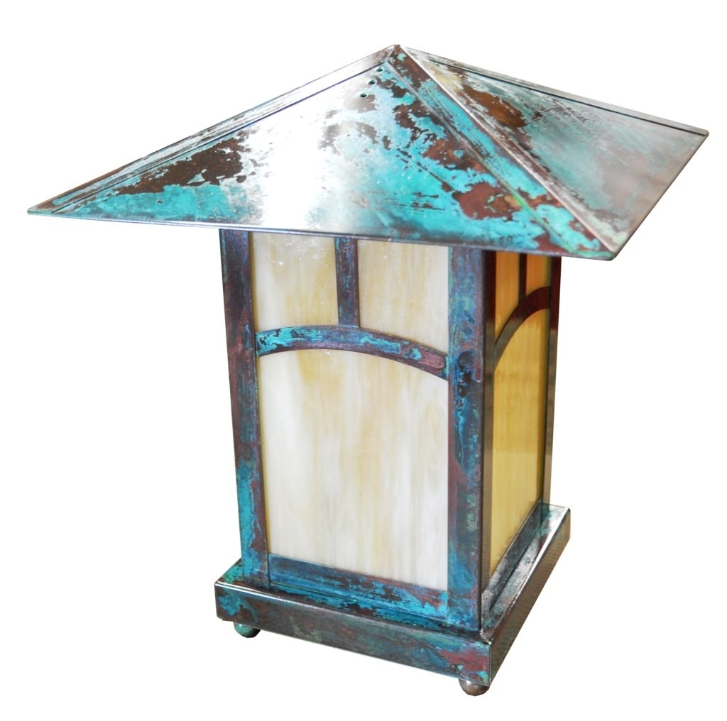 Popular 534 Led Br P Sh Craftsman Outdoor Lantern Pilaster Mount Verde Light With Regard To Outdoor Lanterns With Led Lights (View 20 of 20)