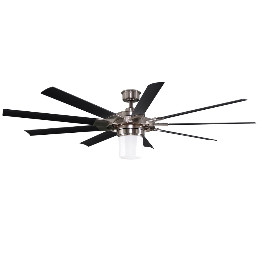 Popular 72 Inch Outdoor Ceiling Fans With Light Intended For Shop Harbor Breeze Slinger 72 In Brushed Nickel Downrod Mount Indoor (View 13 of 20)