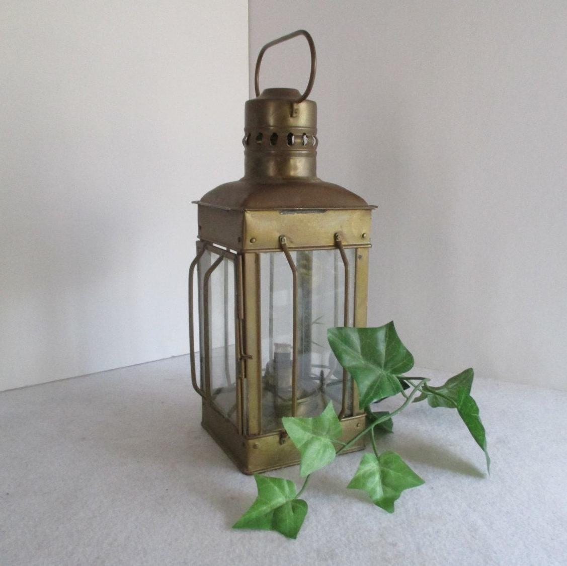 Popular Etsy Outdoor Lanterns Regarding Lantern, Vintage Alcohol Or Candle Hurricane Lamp, Metal, Hanging (View 17 of 20)