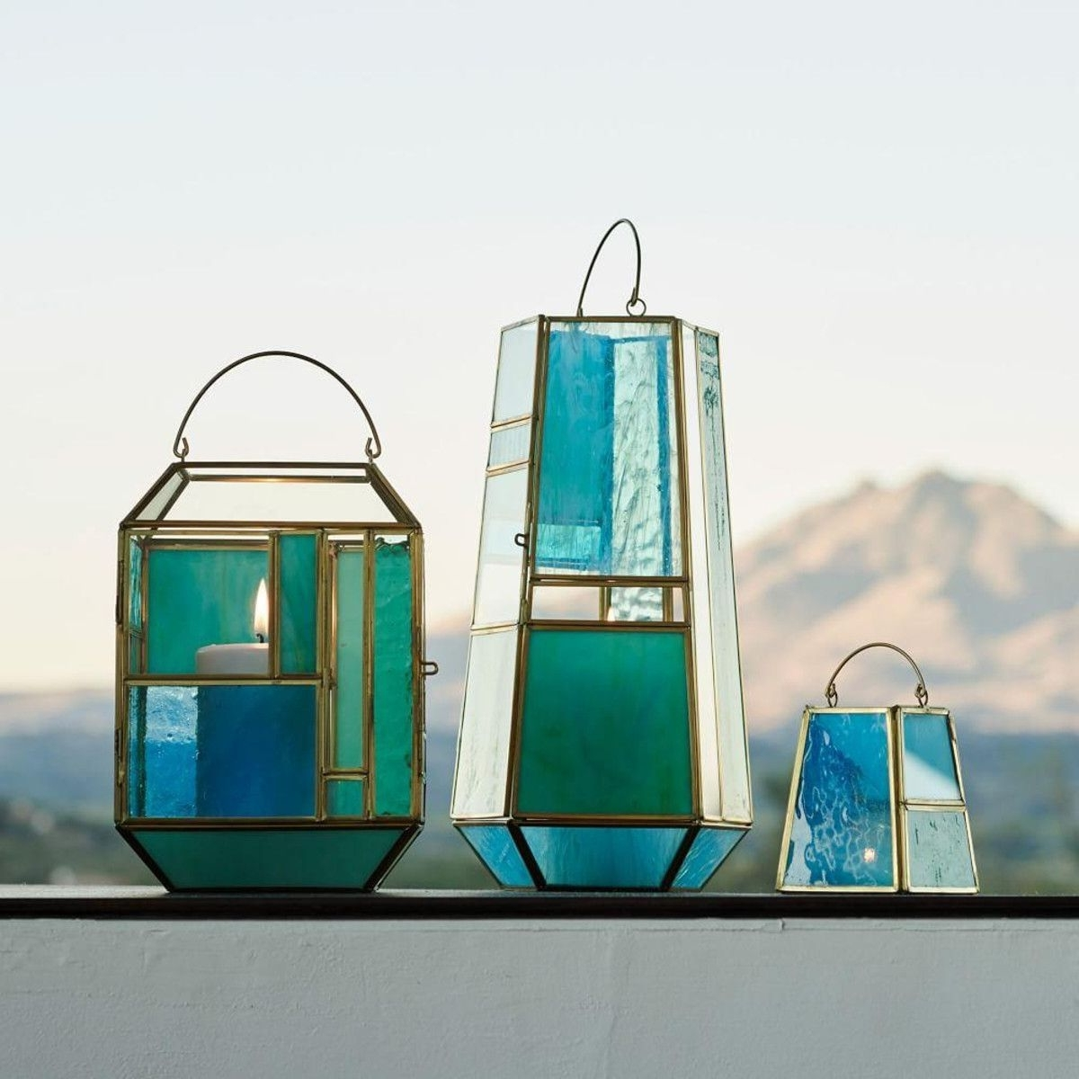 Popular Hang These Stained Glass Inspired Lanterns Inside Or Outside, To In Blue Outdoor Lanterns (Gallery 9 of 20)