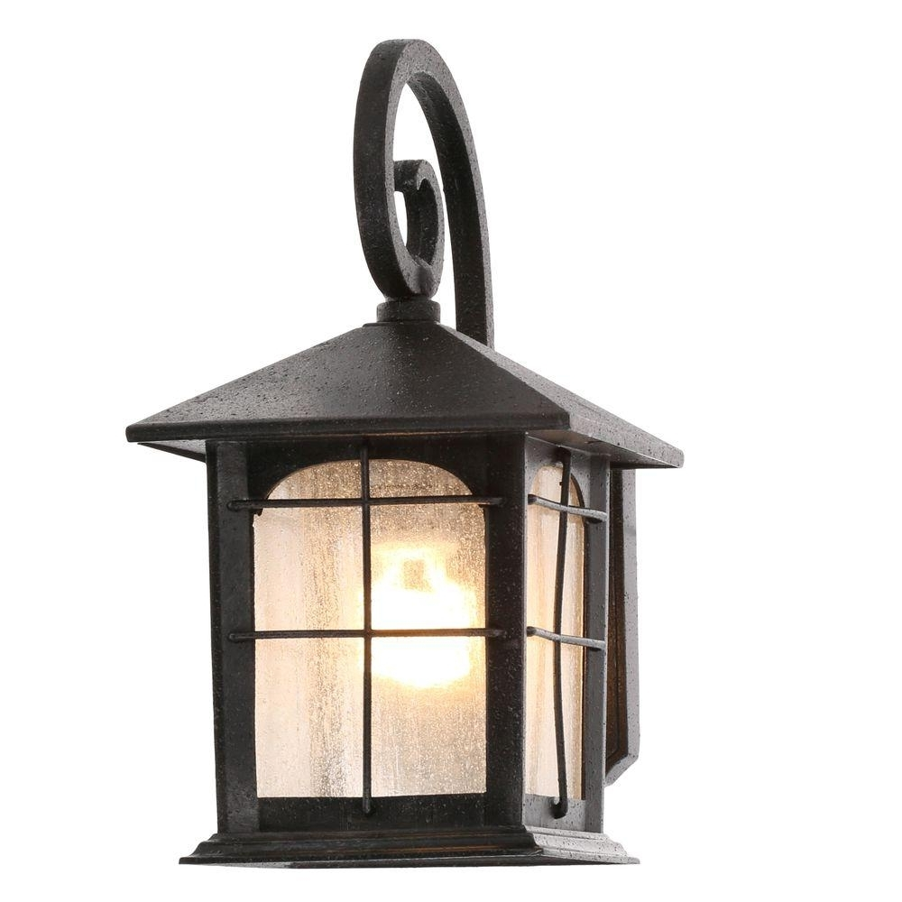 Popular Home Decorators Collection Brimfield 1 Light Aged Iron Outdoor Wall Throughout Outdoor Lamp Lanterns (Gallery 1 of 20)