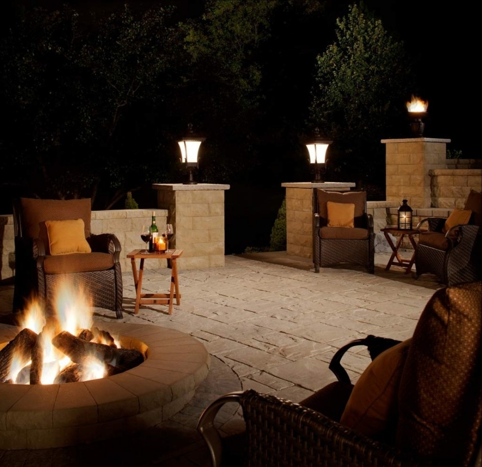 Popular Lighting Ideas: Outdoor Lantern For Patio With Fire Pit Table And Pertaining To Outdoor Lanterns For Tables (View 13 of 20)