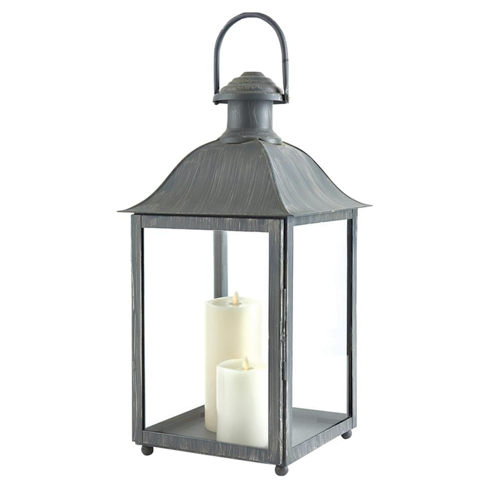 Popular Outdoor Grey Lanterns For Leila French Country Washed Grey Metal Outdoor Lantern – Small (View 15 of 20)