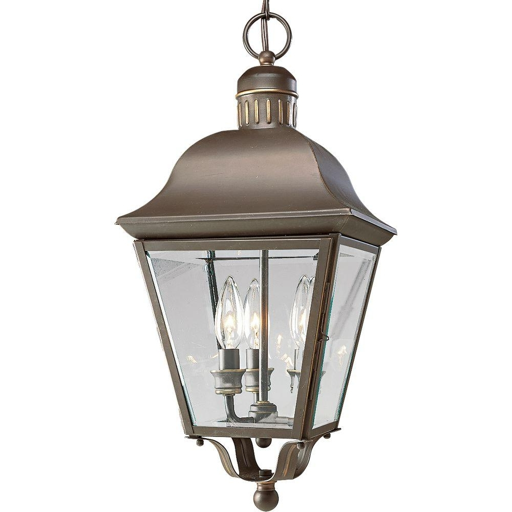 Popular Outdoor Hanging Lanterns Inside Progress Lighting Andover Collection 3 Light Antique Bronze Outdoor (View 12 of 20)