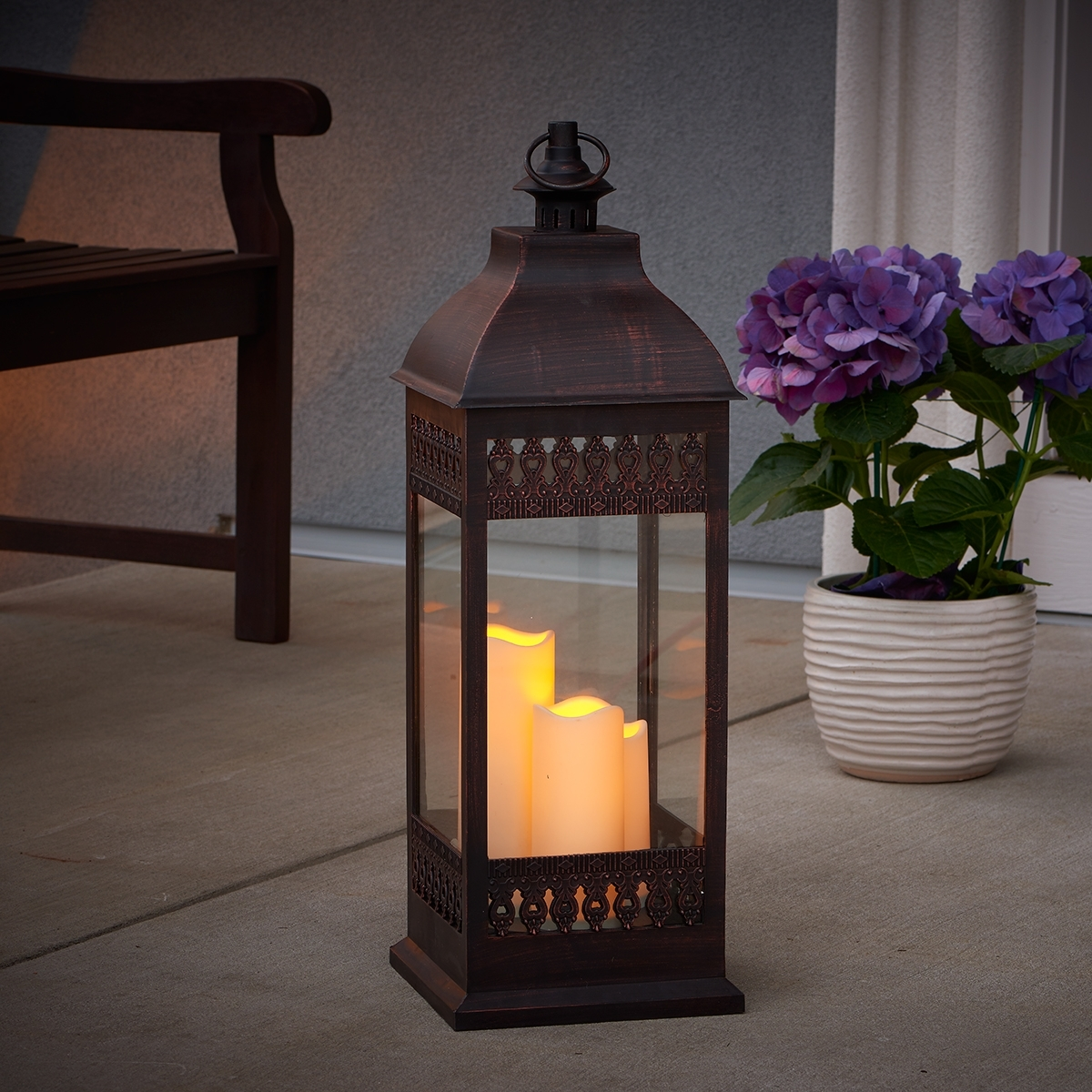 "Popular Outdoor Lanterns With Flameless Candles Pertaining To San Nicola 28"" Triple Led Candle – Antique Bronze – Walmart (View 2 of 20)"