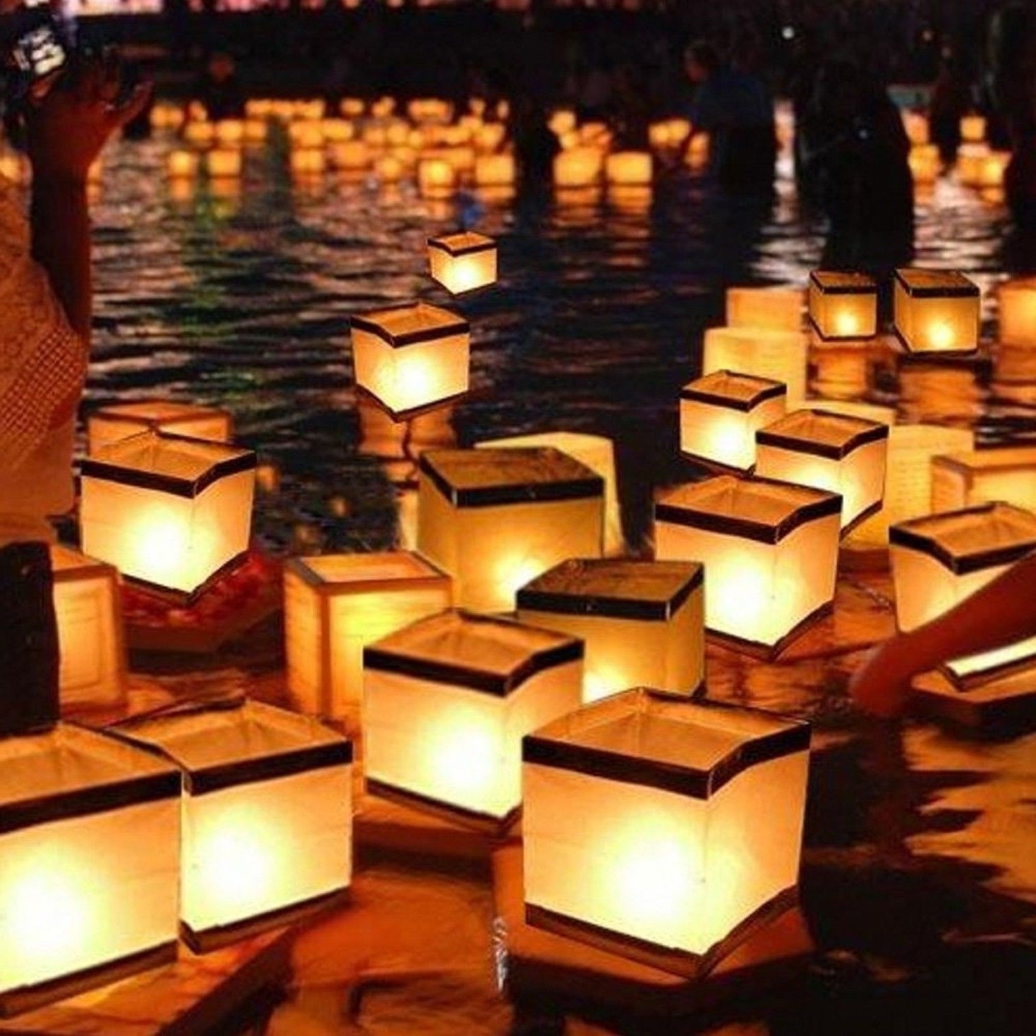Popular Outdoor Memorial Lanterns For Homecube Outdoor Water Floating Candle Lanterns Biodegradable White (Gallery 9 of 20)