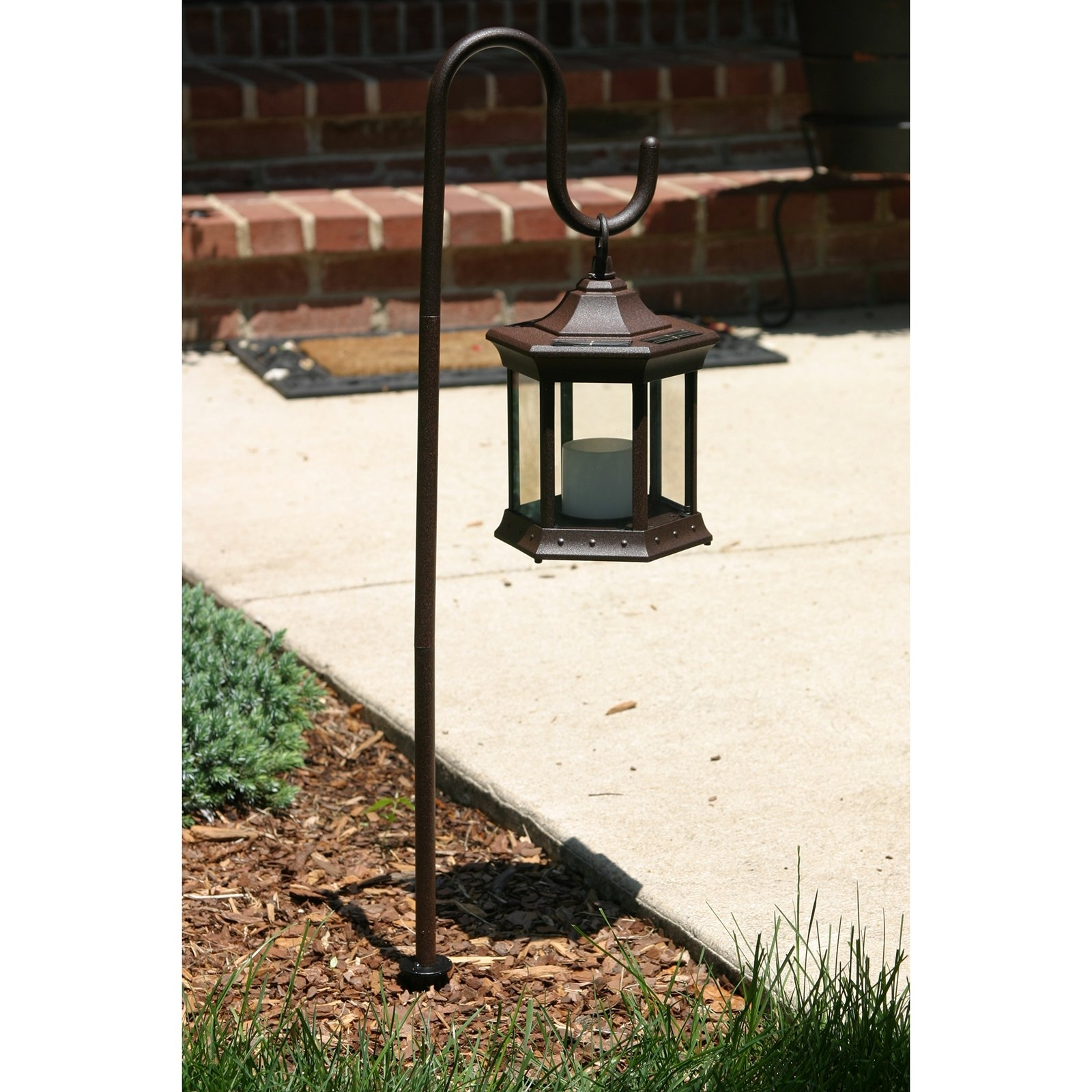 Popular Outdoor Standing Lanterns With Solar Lantern With Shepherd's Hook – Walmart (View 12 of 20)