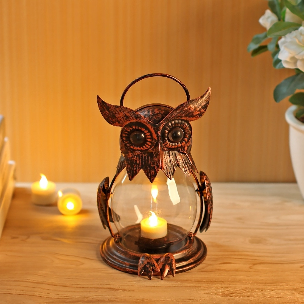 Popular Owl Tealight Holder Hurricane Candleholders, Hanging Lantern For Regarding Outdoor Hurricane Lanterns (View 16 of 20)