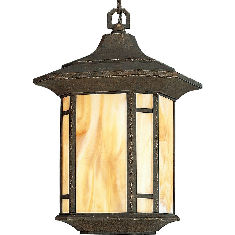 Popular Progress Lighting Arts And Crafts Collection Weathered Bronze Pertaining To Outdoor Pendant Lanterns (View 5 of 20)