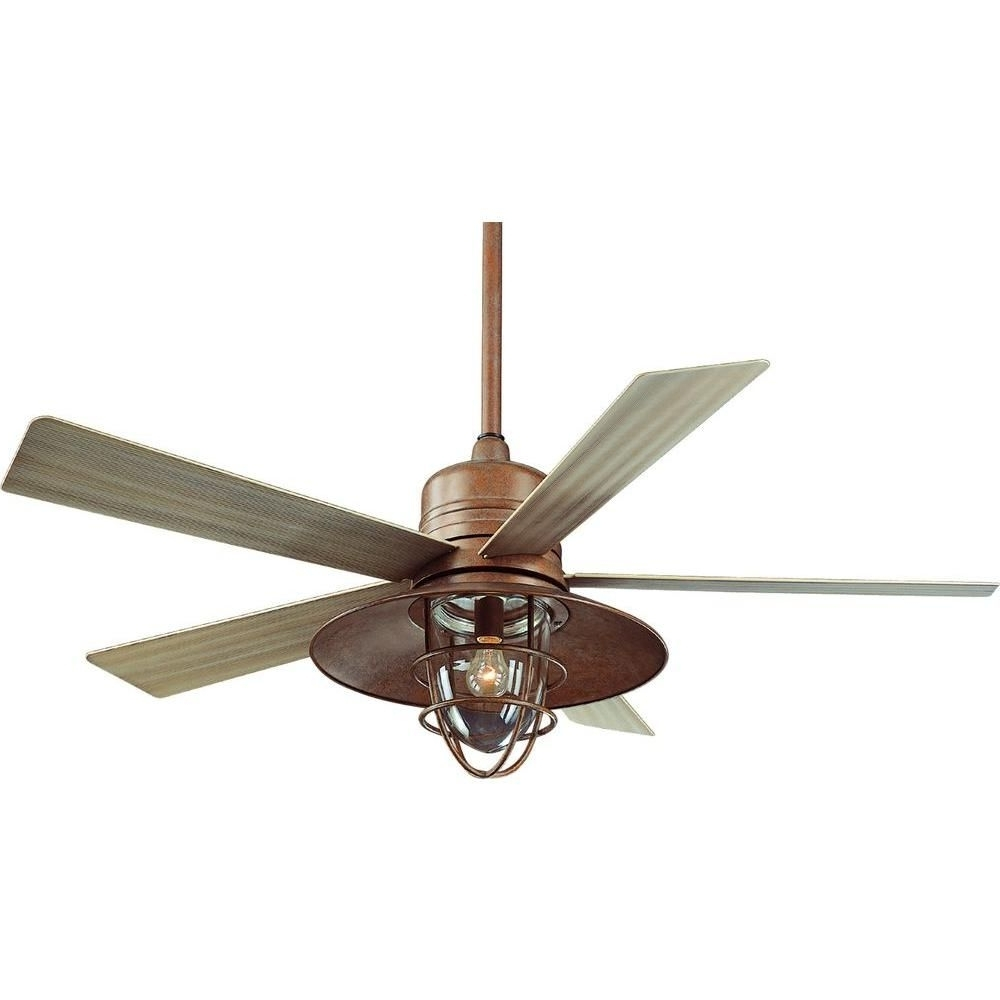 Popular Rustic Outdoor Ceiling Fans With Lights Intended For Hampton Bay Metro 54 In (View 12 of 20)