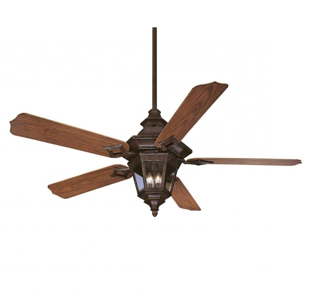 Popular Three Light Walnut Patina Clear Beveled Glass Ceiling Fan : 15e14 Inside Outdoor Ceiling Fans With Bright Lights (View 12 of 20)