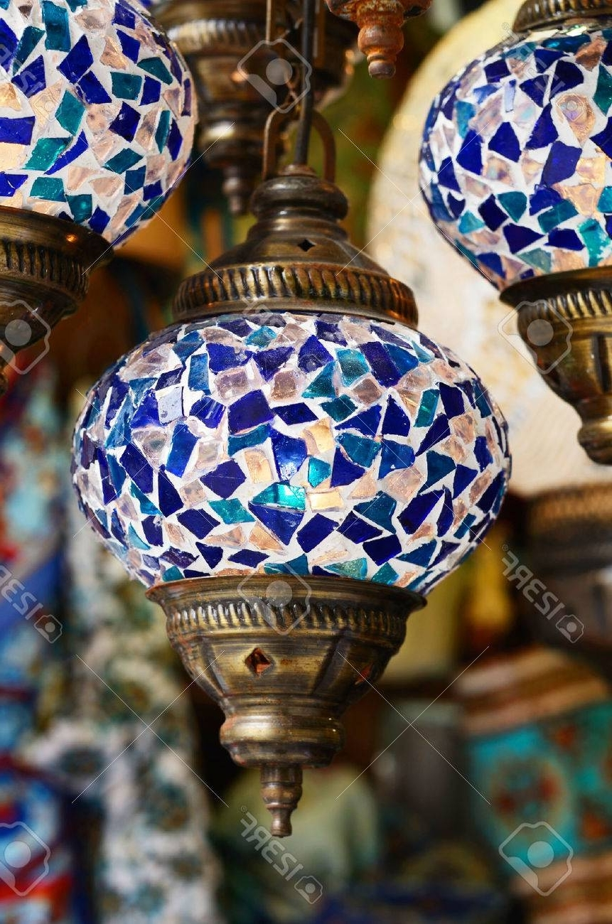Popular Traditional Turkish Mosaic Lanterns In Blue Color Stock Photo Pertaining To Outdoor Mosaic Lanterns (View 15 of 20)