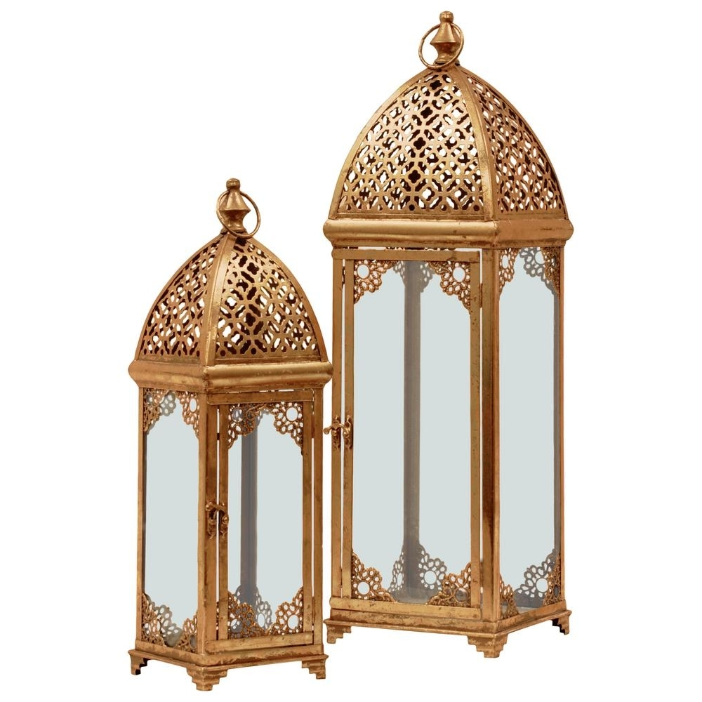 Popular Urban Trends Collection Gold Candle Metal Decorative Lantern 40823 Regarding Outdoor Indian Lanterns (View 17 of 20)