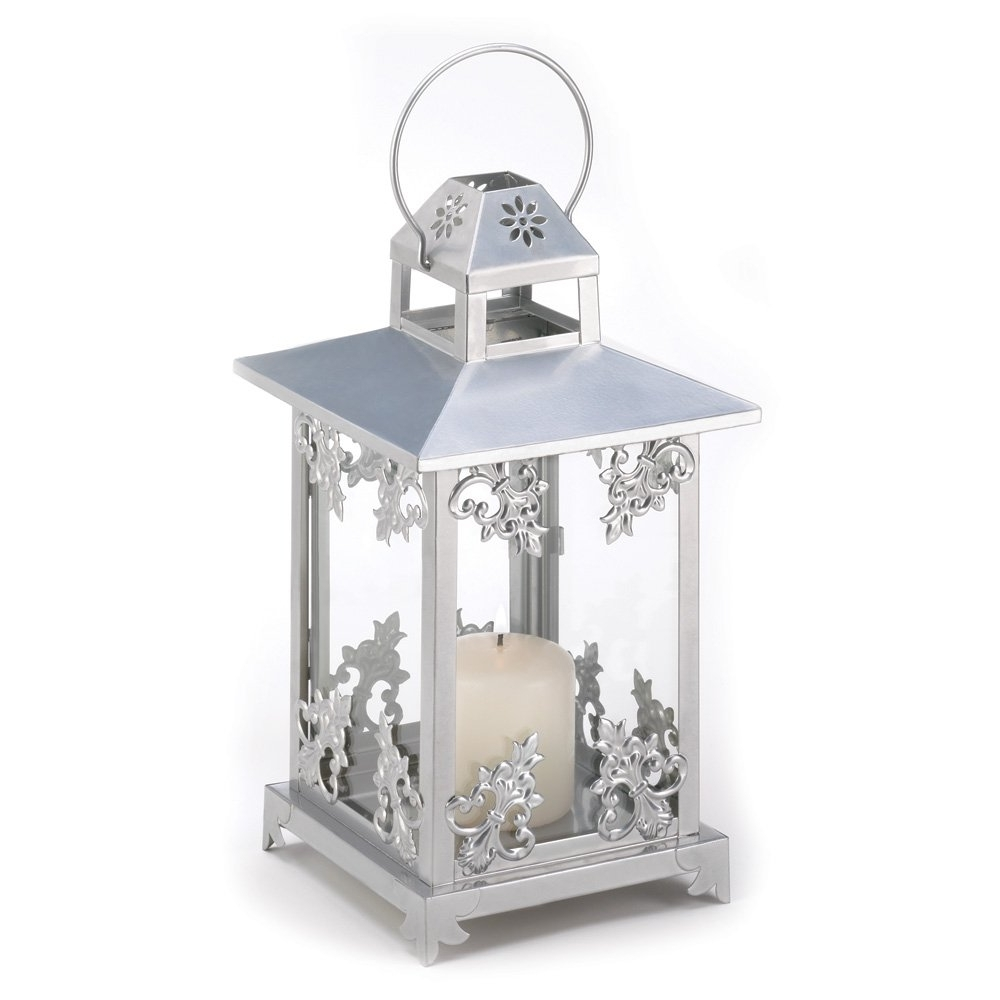 Popular White Candle Lantern, Antique Iron Decorative Scrollwork Candle In Outdoor Cast Iron Lanterns (View 9 of 20)