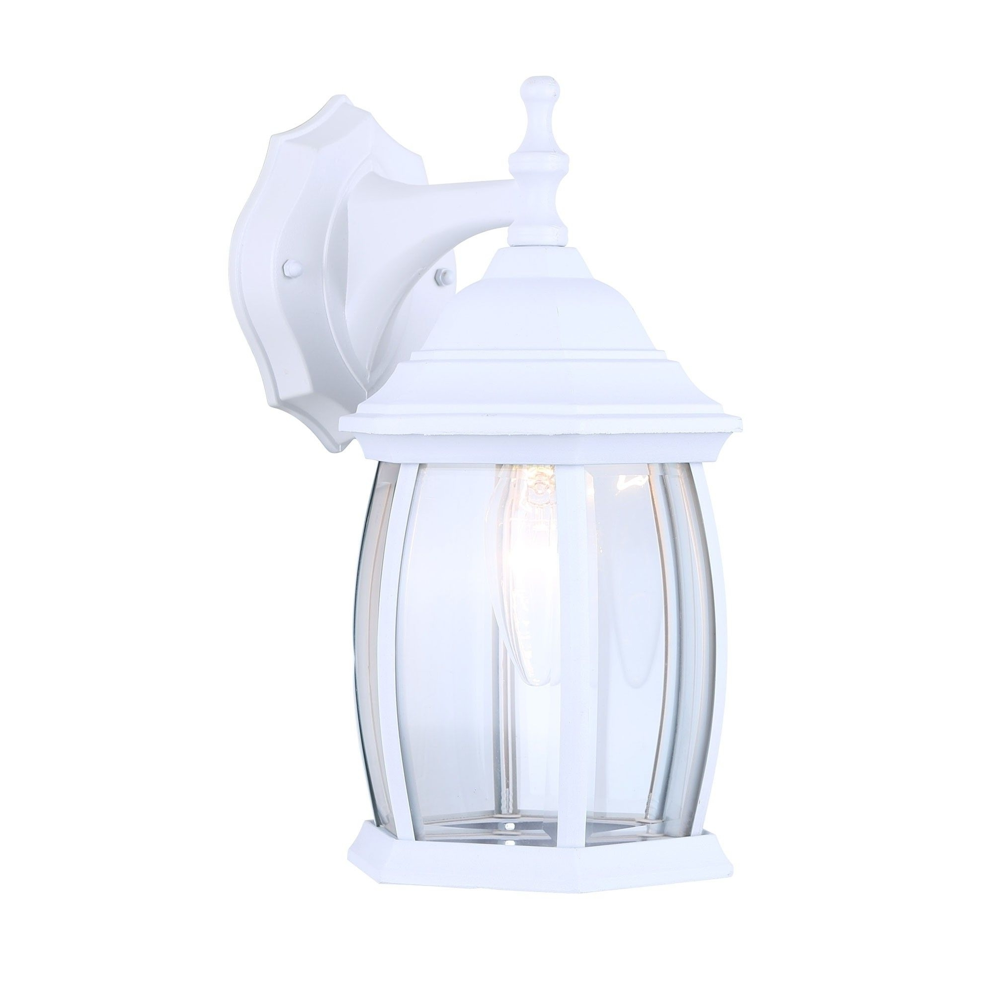 Popular White Outdoor Lanterns Inside Canarm Iol12wh Exterior Outdoor Light Fixture Lantern Sconce Curved (View 15 of 20)