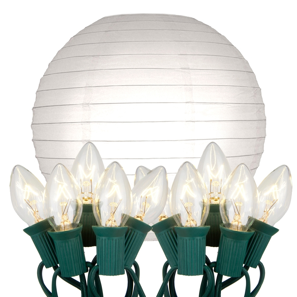 Preferred Electric – String Lights With White Paper Lanterns Kit 10Ct – Lumabase With Outdoor Paper Lanterns For Patio (View 17 of 20)