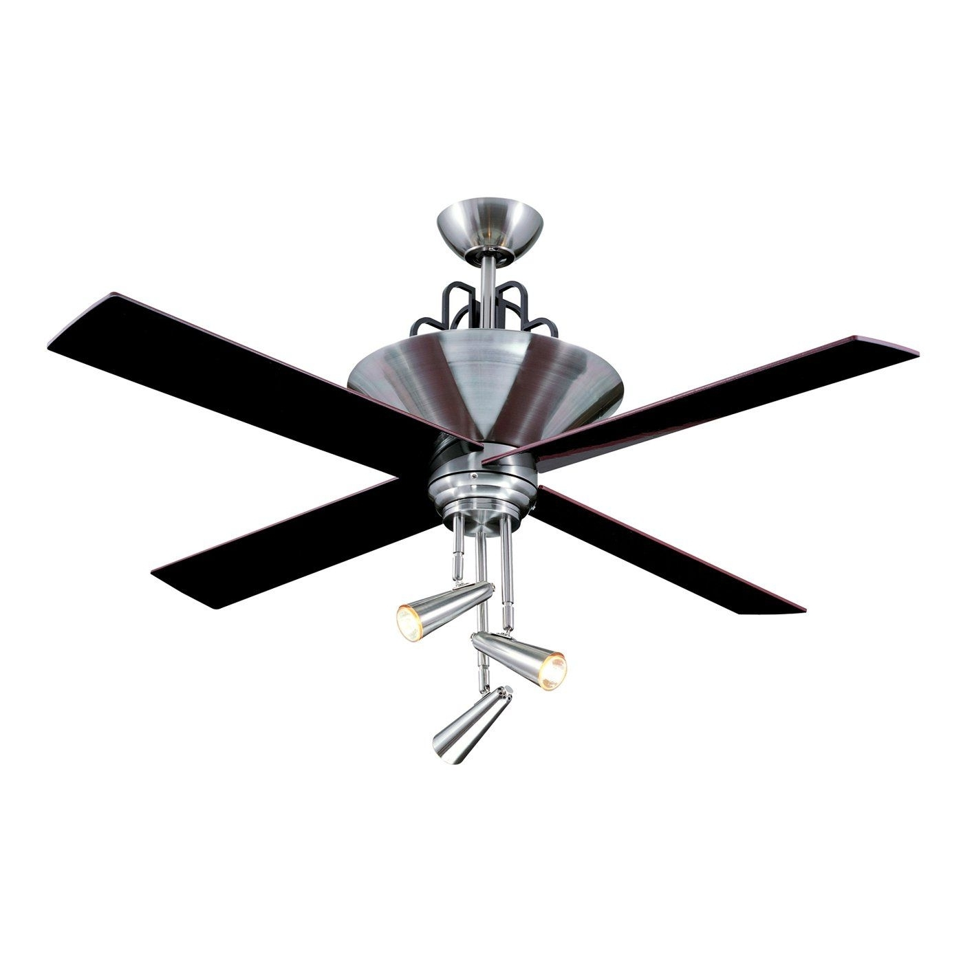 Preferred Ellington Fans E Gal52bc4gr 3 Light Galileo Ceiling Fan, Black Regarding Ellington Outdoor Ceiling Fans (View 11 of 20)