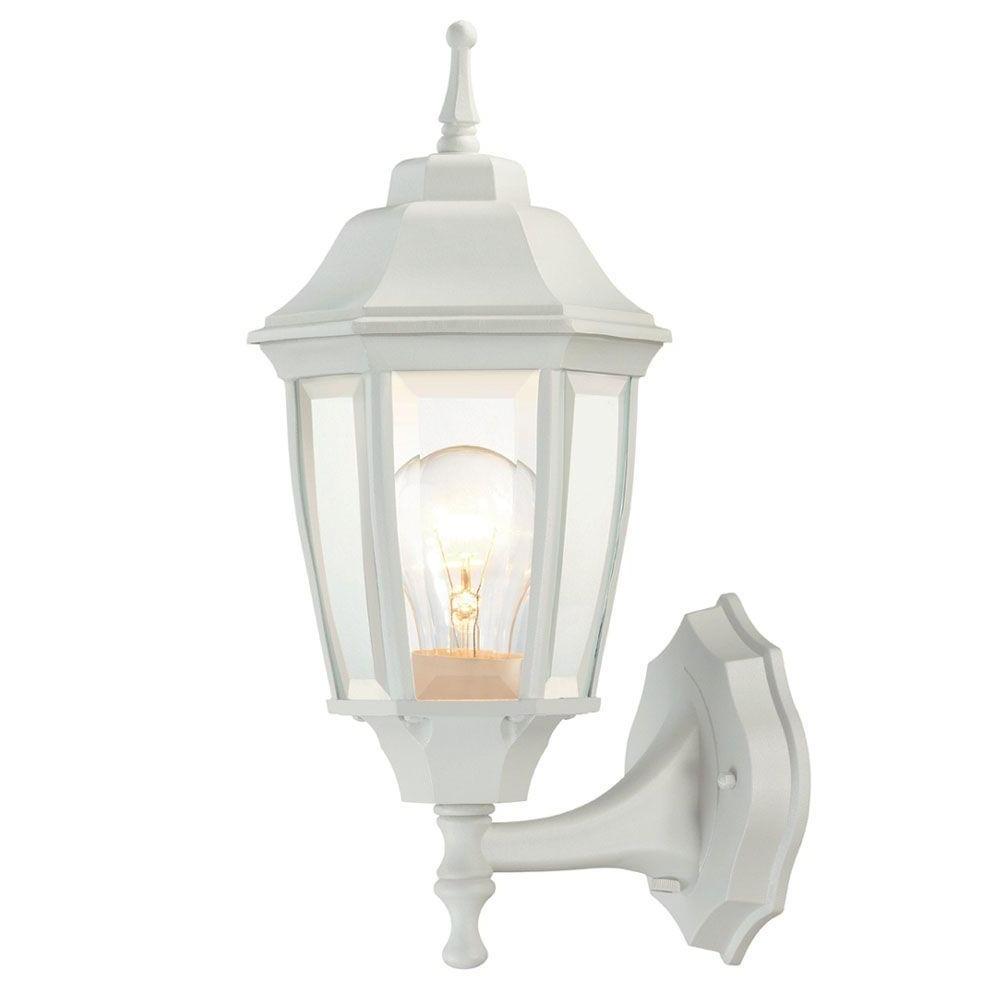 Preferred Hampton Bay 1 Light White Outdoor Dusk To Dawn Wall Lantern Bpp1611 In White Outdoor Lanterns (View 10 of 20)