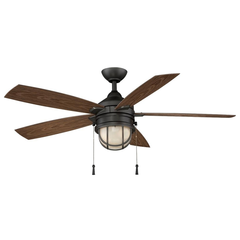 Preferred Hampton Bay Outdoor Ceiling Fans With Lights With Regard To Hampton Bay Seaport 52 In (View 14 of 20)