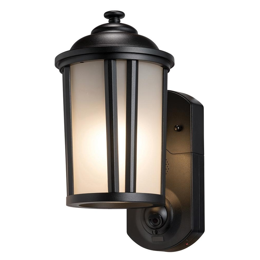 Preferred Maximus Traditional Smart Security Textured Black Metal And Glass With Regard To Home Depot Outdoor Lanterns (View 18 of 20)