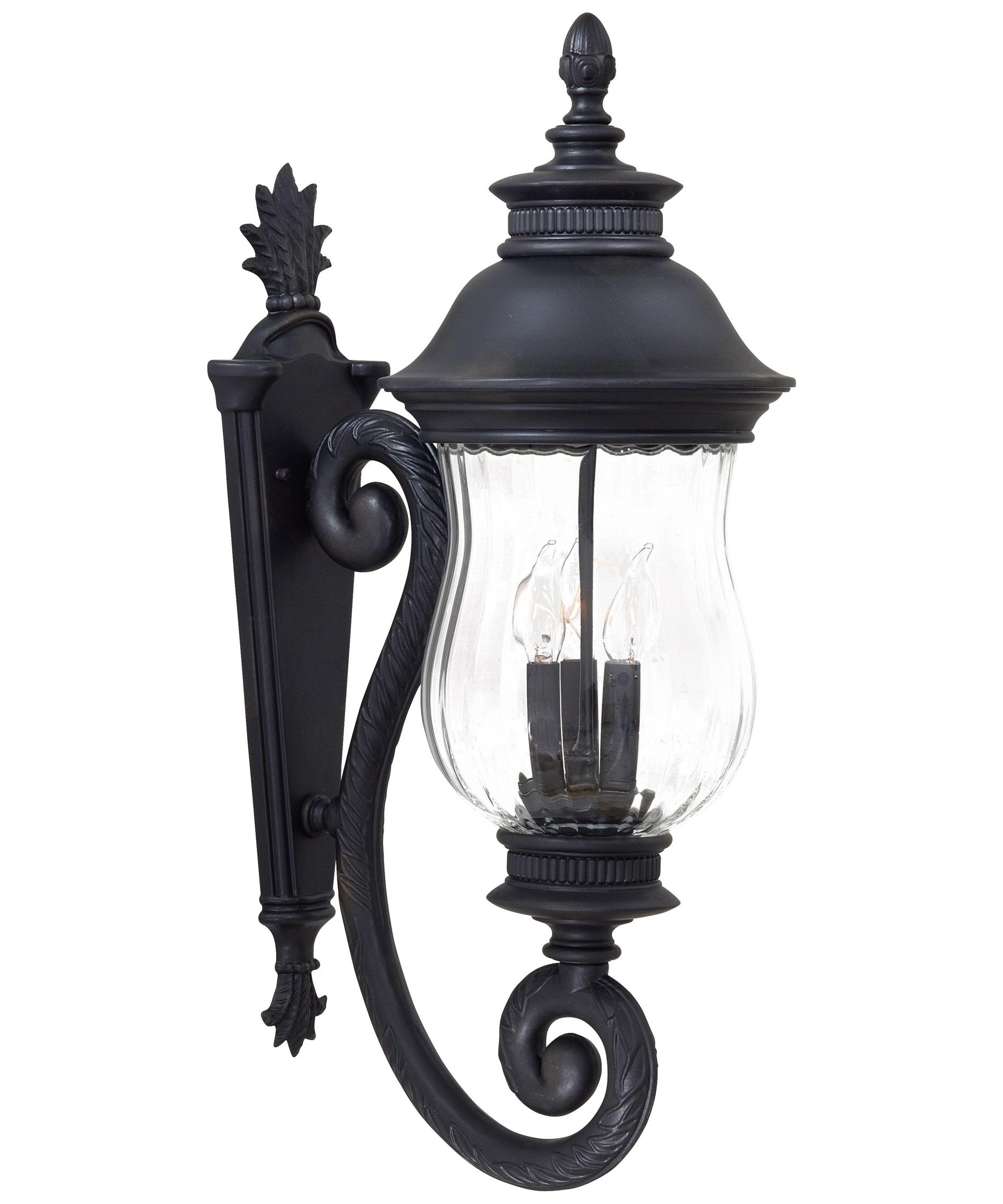 Preferred Outdoor Cast Iron Lanterns Pertaining To Minka Lavery 8901 Newport 10 Inch Wide 3 Light Outdoor Wall Light (Gallery 10 of 20)