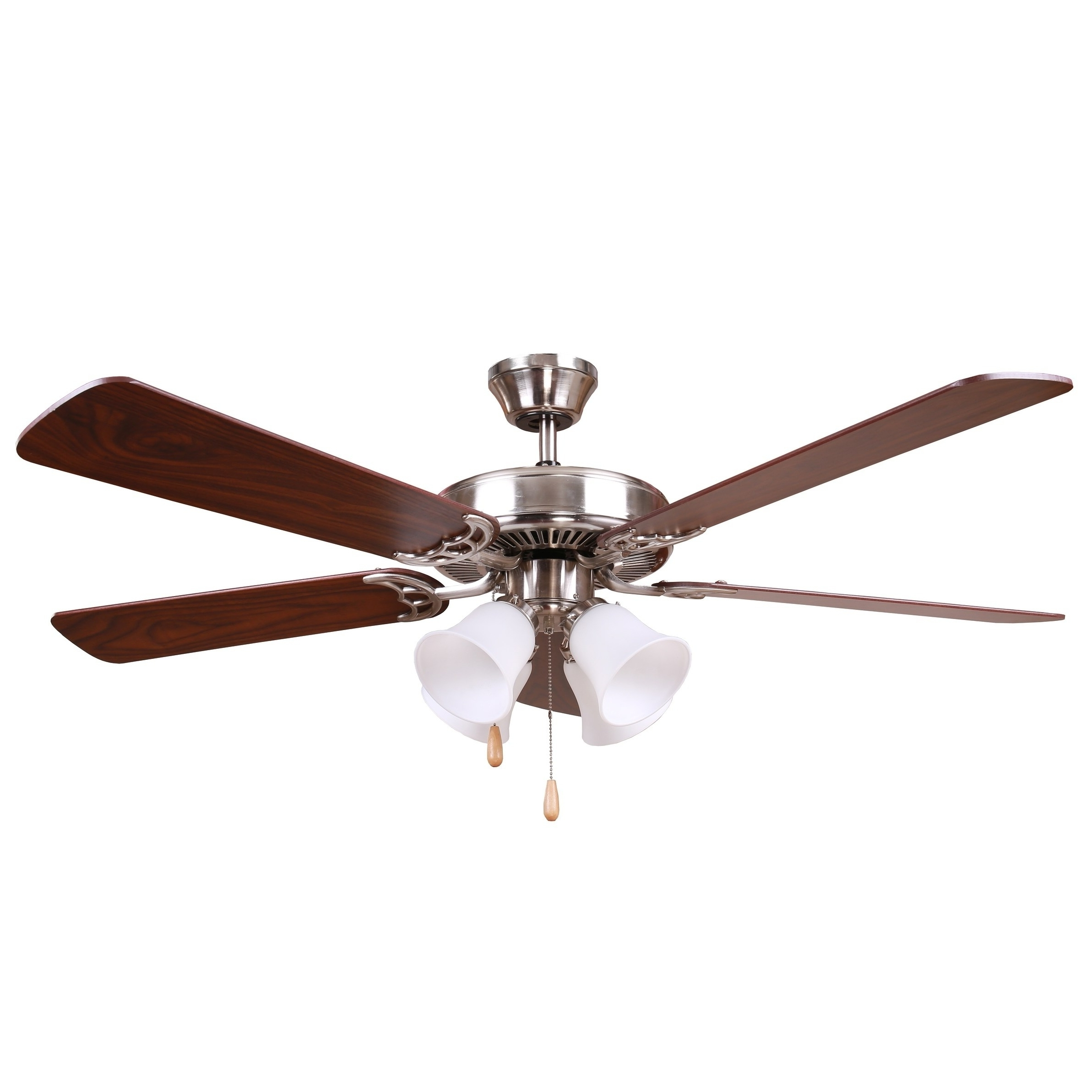 Preferred Outdoor Ceiling Fans With Removable Blades Regarding Shop Y Decor Bright Brushed Nickel Finish 52 Inch Ceiling Fan – Free (View 17 of 20)