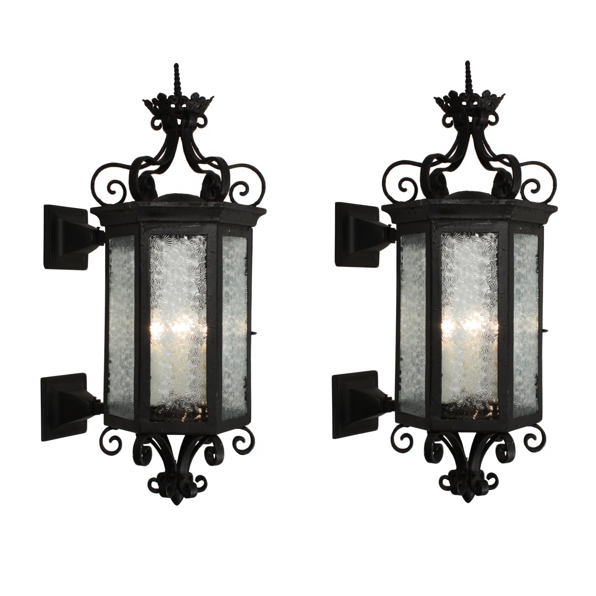 Preferred Outdoor Exterior Lanterns Intended For Substantial Pair Antique Iron Exterior Lantern Sconces Wall Sconce (View 17 of 20)