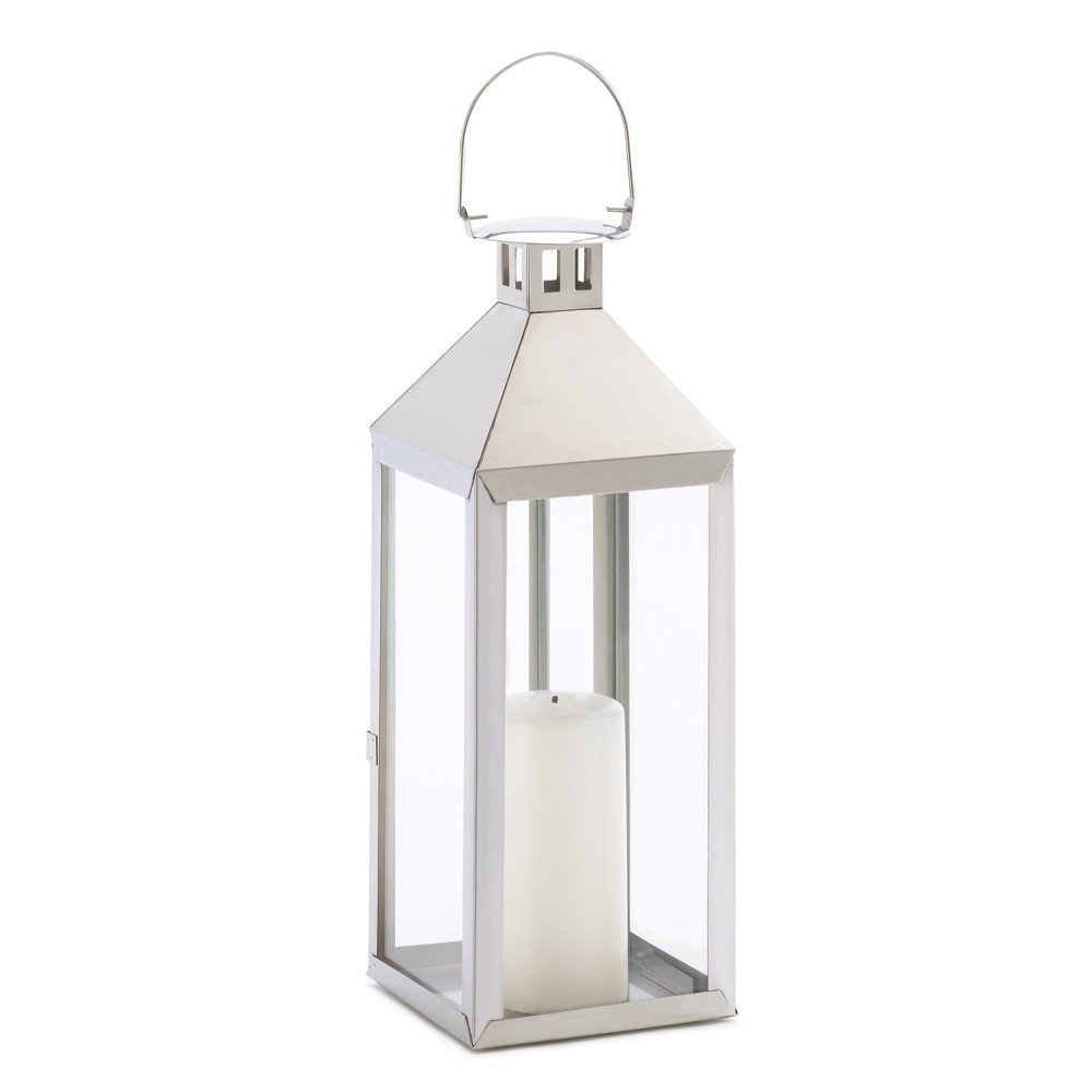 Preferred Outdoor Hurricane Lanterns Inside White Metal Candle Lantern, Outdoor Lanterns For Candles Stainless (View 15 of 20)