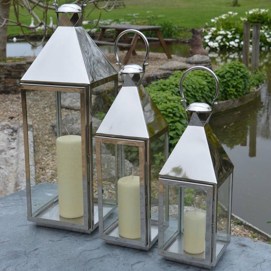 Preferred Outdoor Tea Light Lanterns Regarding Tall Stainless Steel Garden Candle Lanternza Za Homes (View 10 of 20)