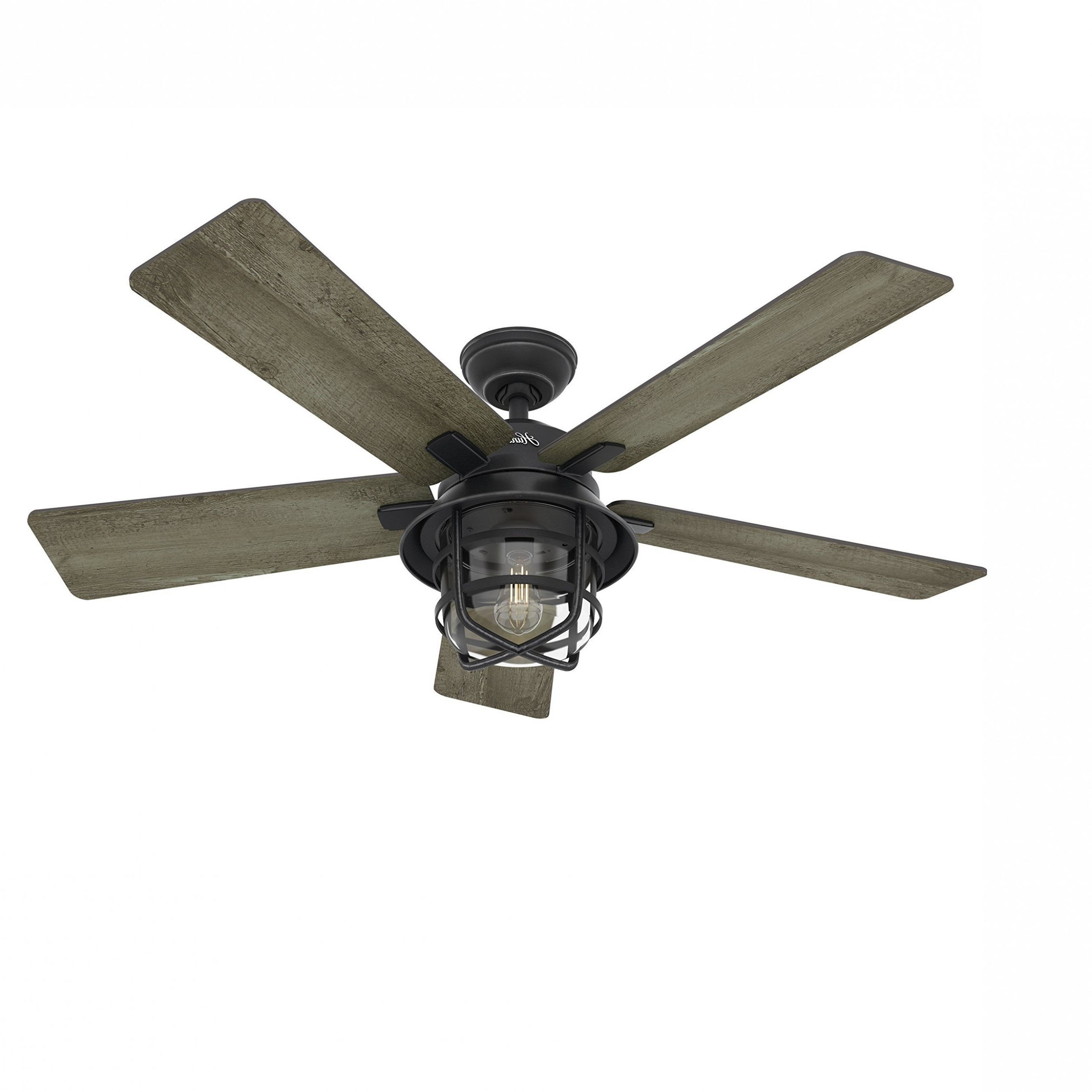 "Preferred Traditional Outdoor Ceiling Fans Throughout Hunter 52"" Traditional Bronze Finish Ceiling Fan With 4 Bulb Light (View 15 of 20)"