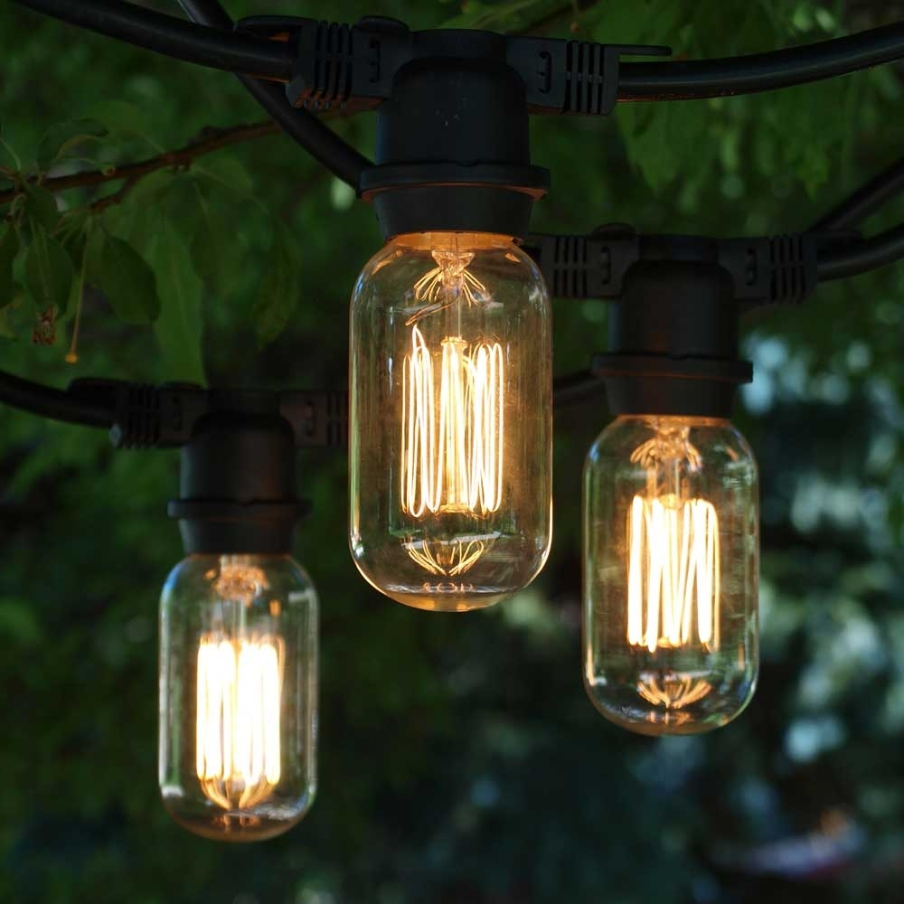 Preferred Vintage Outdoor String Lights, 48' Black, T14 Edison Cage Bulb Inside Outdoor Vintage Lanterns (View 16 of 20)