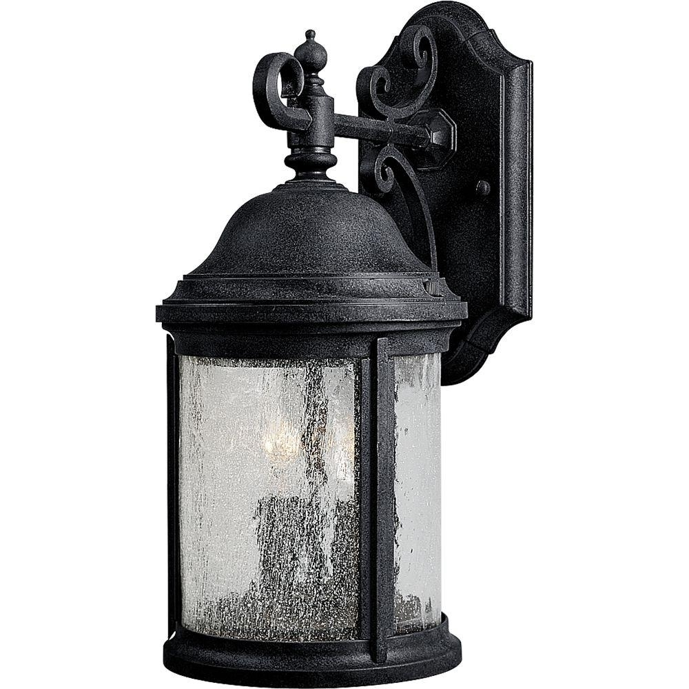 Progress Lighting Ashmore Collection 2 Light Textured Black Outdoor Pertaining To Most Popular Outdoor Vinyl Lanterns (Gallery 6 of 20)