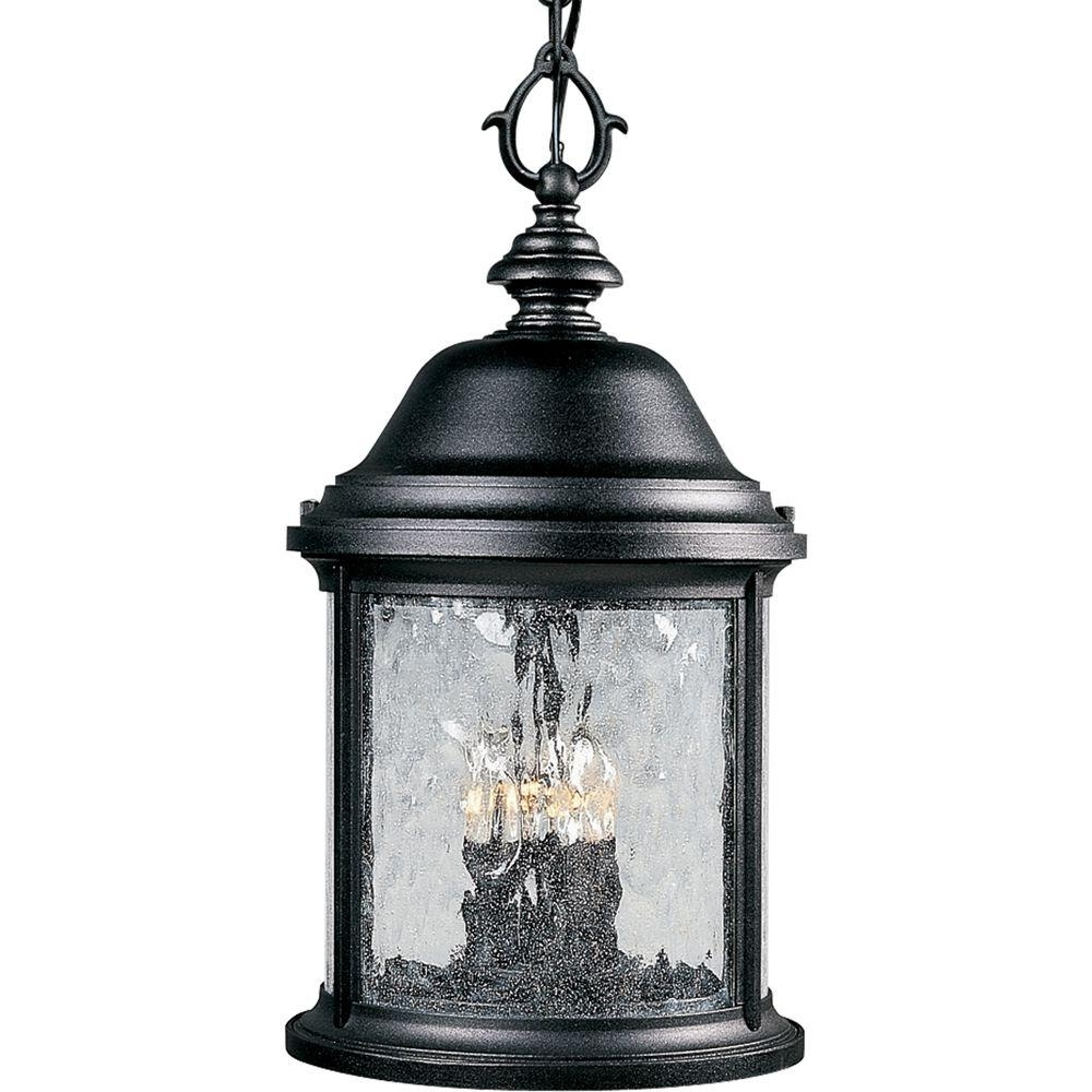 Progress Lighting Ashmore Collection 3 Light Textured Black Outdoor Within Well Liked Outdoor Hanging Lanterns For Candles (View 15 of 20)
