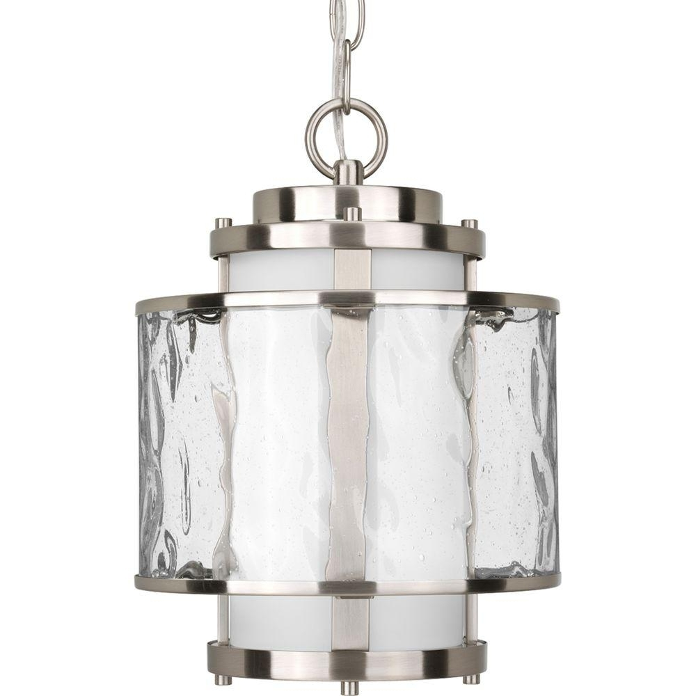 Progress Lighting Bay Court Collection Brushed Nickel Outdoor For Best And Newest Outdoor Pendant Lanterns (Gallery 12 of 20)