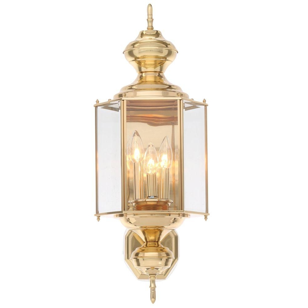 Progress Lighting Brassguard Collection 3 Light Polished Brass Pertaining To 2019 Brass Outdoor Lanterns (View 8 of 20)