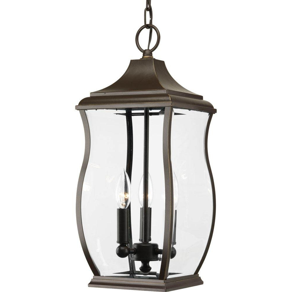 Progress Lighting Township Collection 3 Light Outdoor Oil Rubbed With Most Popular Outdoor Oil Lanterns (Gallery 11 of 20)